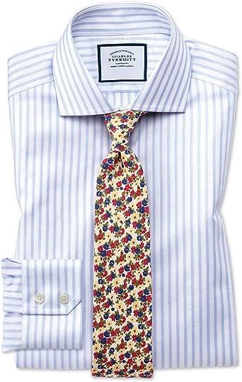 Camisa Blanca y Azul de Tela Texturizada a Rayas Slim fit con ...