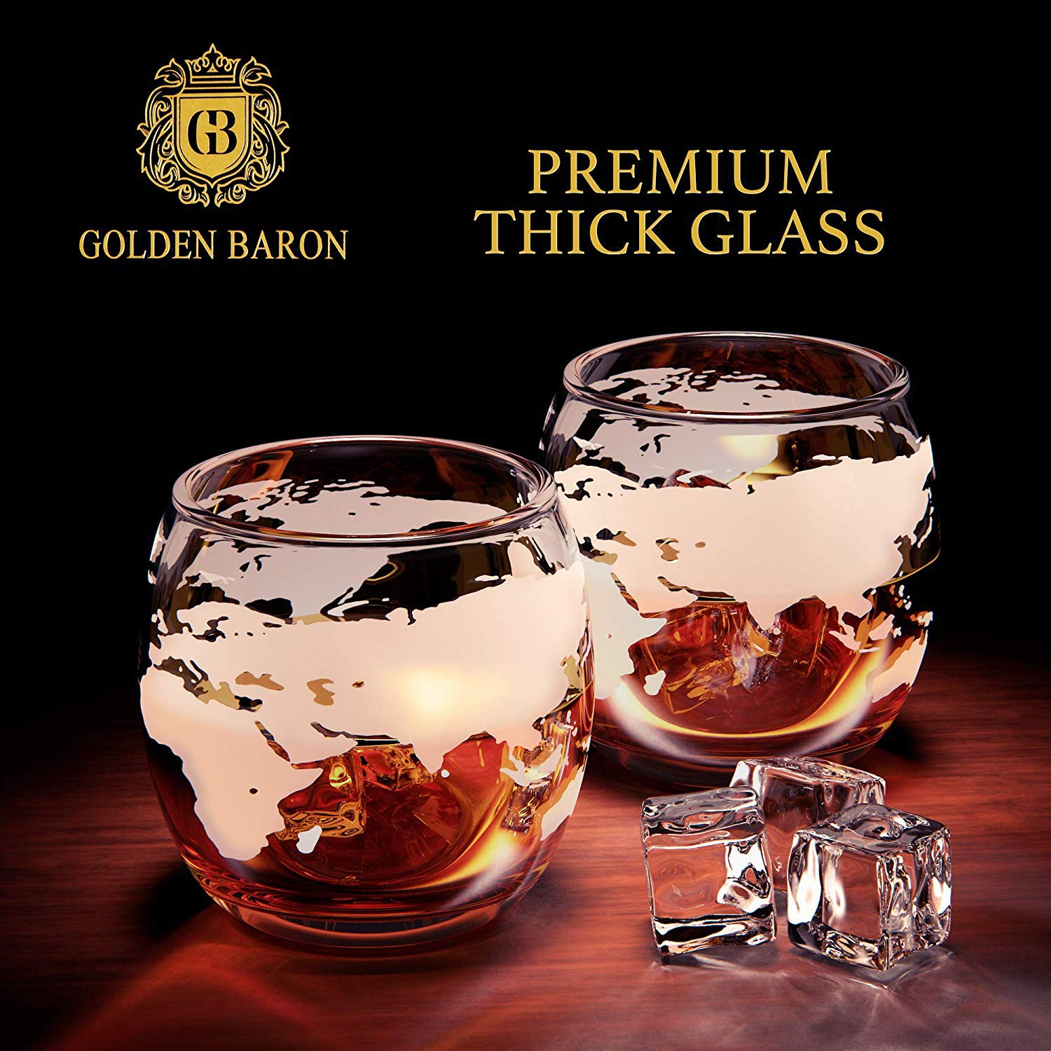 Globe Whiskey Decanter and Glass Set - Double Thickness Glass and Crystal Stopper - Liquor Decanter and Dispenser by Golden Baron (Image #3)