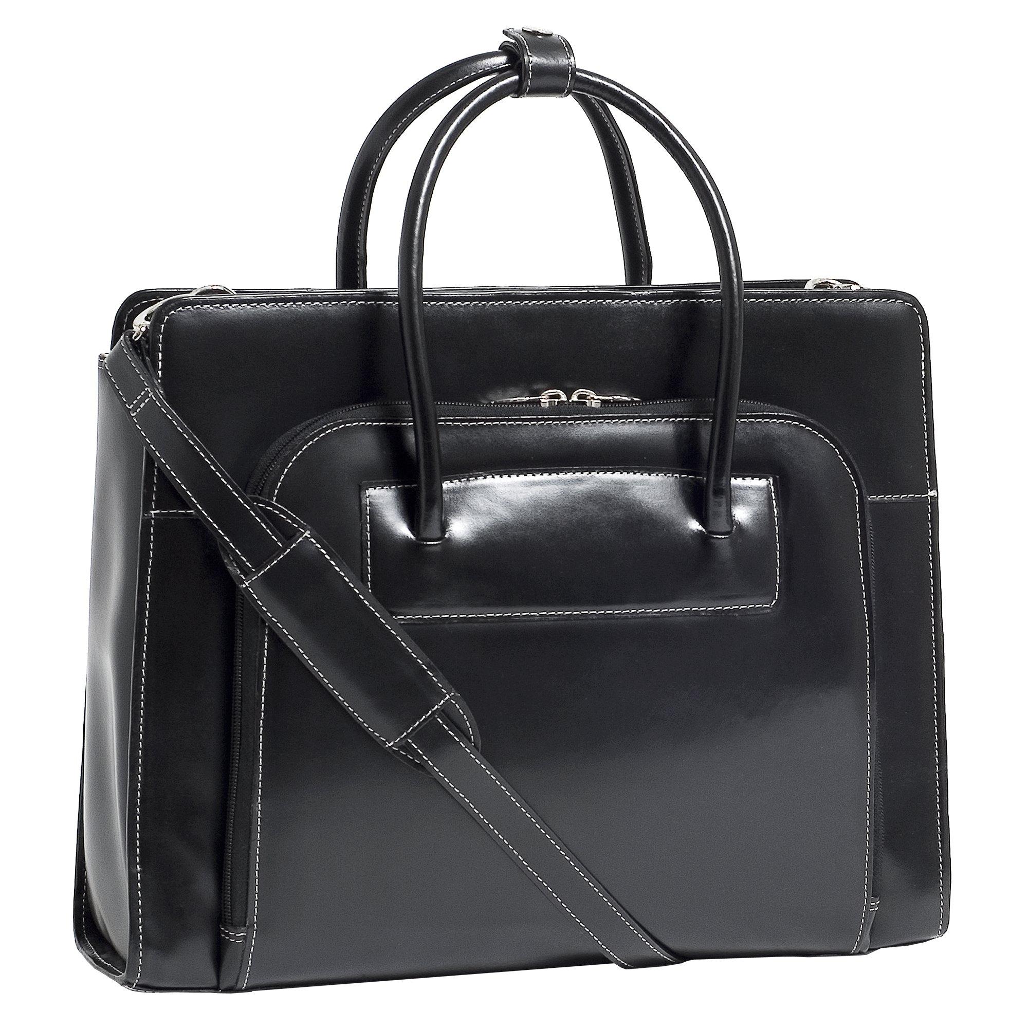 McKleinUSA Lake Forest [Personalized Initials Embossing] Leather Ladies' Laptop Briefcase Tote in Black by McKlein