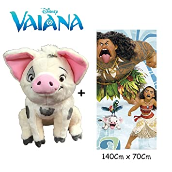 Disney - Vaiana - Set de Peluche Cerdo PUA 25 cm(Famosa 760016402) Calidad Super Soft + Toalla de playa 100% algodón (140x70cm): Amazon.es: Juguetes y ...