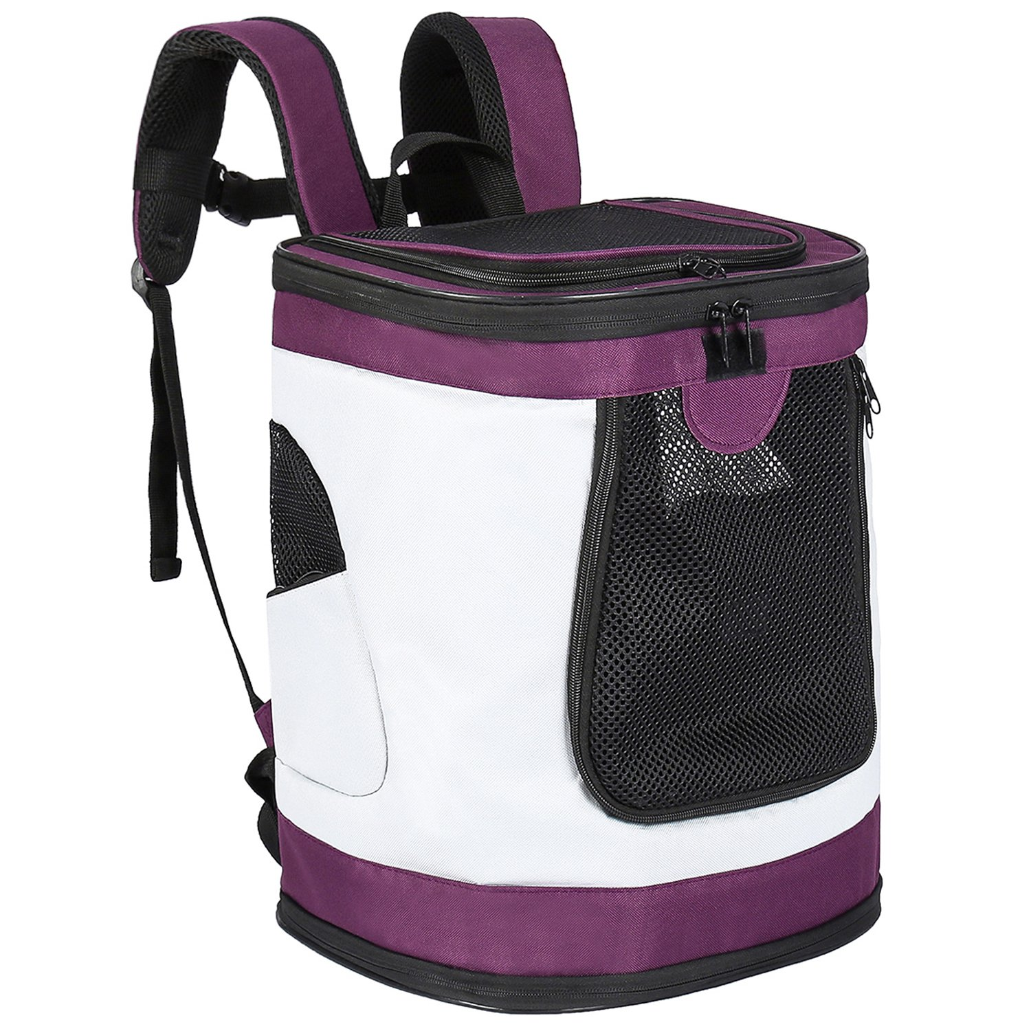 None Pet Carrier Backpack for Small Medium Dogs Cats, Airline Approved Bag with Mesh Windows for Travel, Hiking, Outdoor up to 20LBS Purple