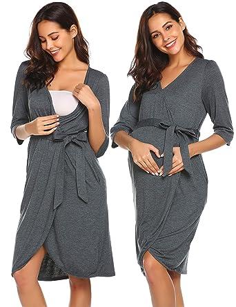 06ea6cbbda4 Ekouaer Womens Maternity Pregnancy Labor Robe Hospital Breastfeeding Gown  (Grey, X-Large)