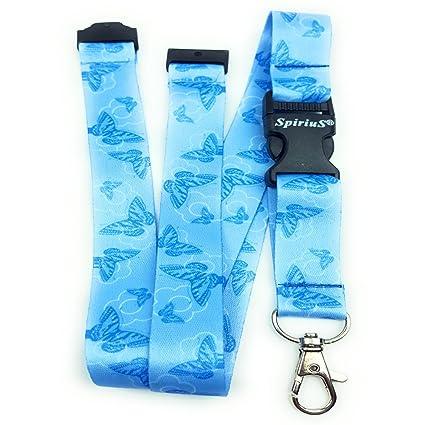 Spirius - Correa de cuello para tarjetas de identificación y llaves, diseño de mariposas, color azul