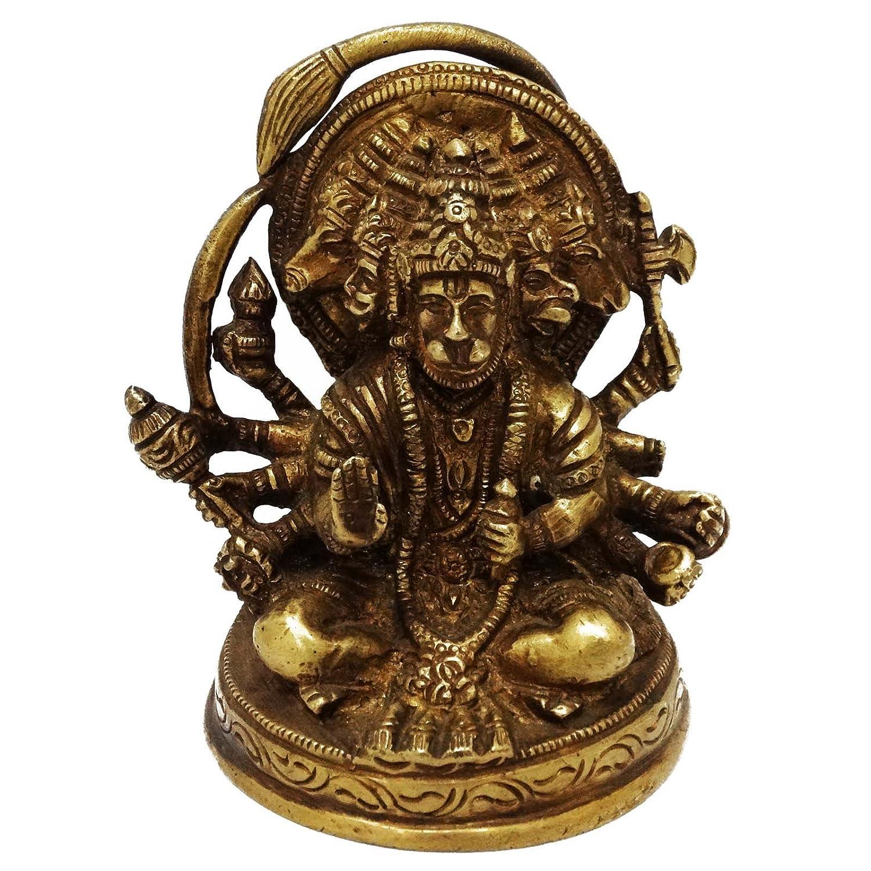 Engraved Lord Hanuman Ritual彫刻置物装飾ゴールデン真鍮アート B071L3M2NJ
