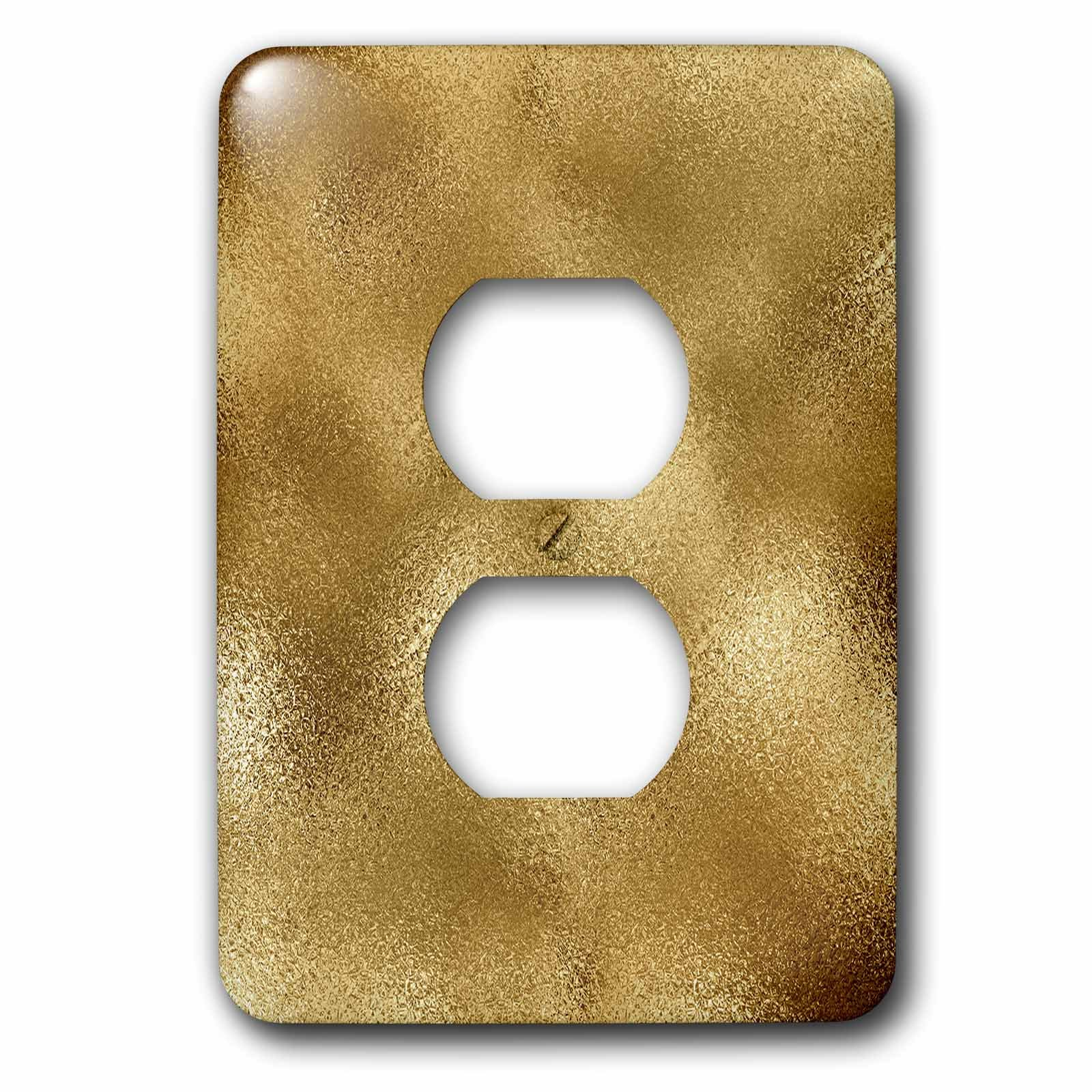 3dRose Uta Naumann Pattern - Luxury Gold Metal Foil Background - Light Switch Covers - 2 plug outlet cover (lsp_263080_6)