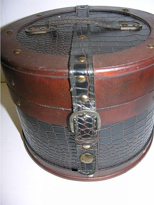 Gr Palazzo INT Sombrero Estuche de Madera Redondo (18 cm Piel Sombrerera Antiguo Estilo de Baúl: Amazon.es: Jardín