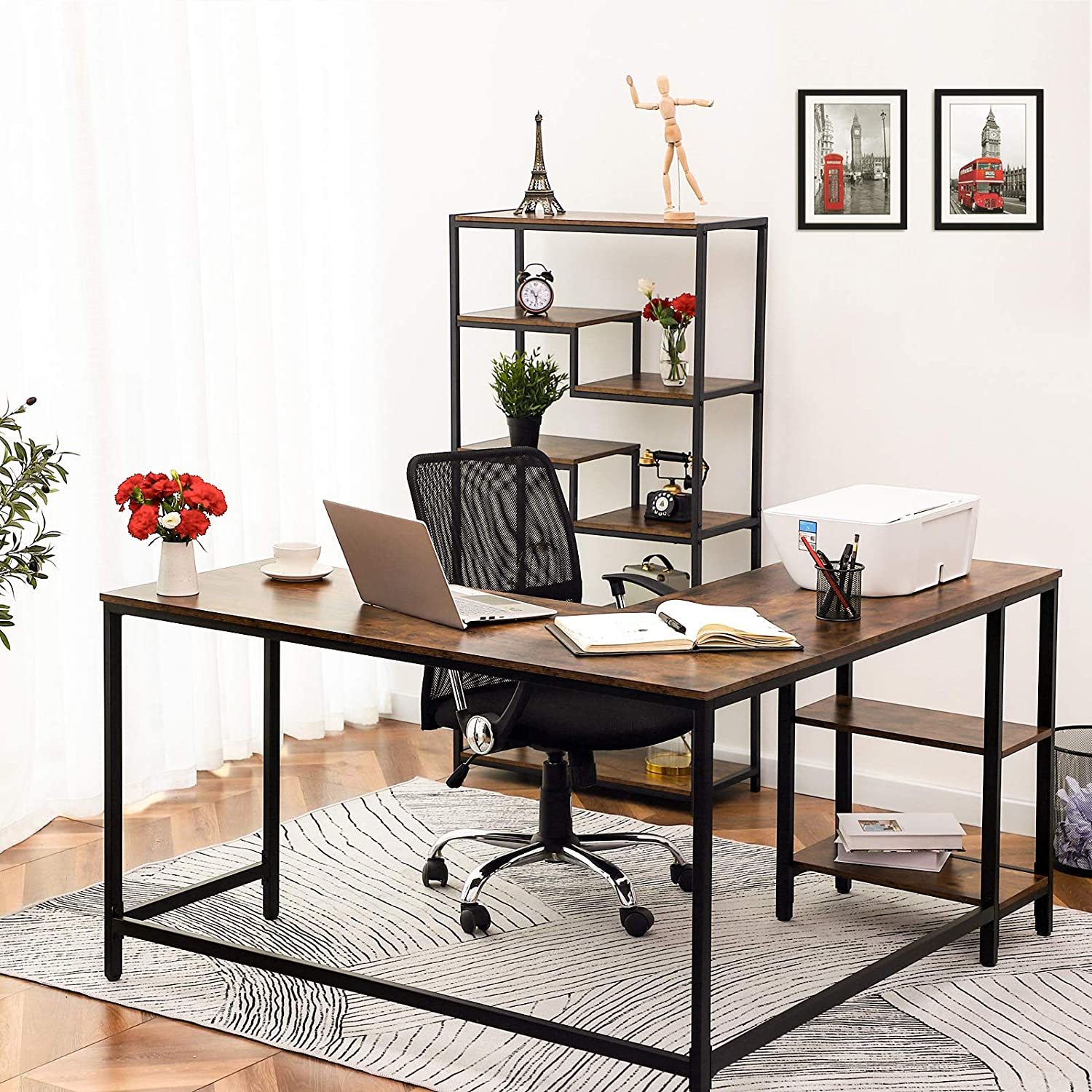 Study Workstation for Home Office Stable and Space-Saving HOOBRO L-Shaped Computer Desk Industrial Corner Writing Desk with Shelves Rustic Brown BF35DN01
