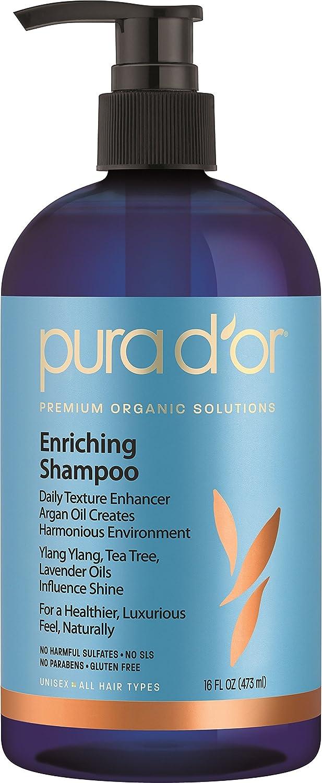 PURA D'OR Enriching Shine Shampoo Premium Organic Argan Oil, Aloe Vera, Vitamins & Biotin, 16 Fluid Ounce