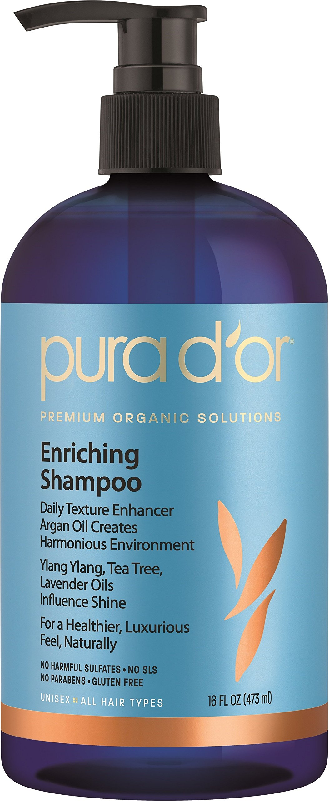 PURA D'OR Enriching Shine Shampoo Premium Organic Argan Oil, Aloe Vera, Vitamins & Biotin, 16 Fluid Ounce