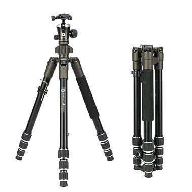 BONFOTO 671A Travel Aluminum Camera Tripod, Lightweight with 1/4  Quick Release Plates Ball Head for Canon/Nikon/Sony/Samsung/Panasonic Olympus DSLR