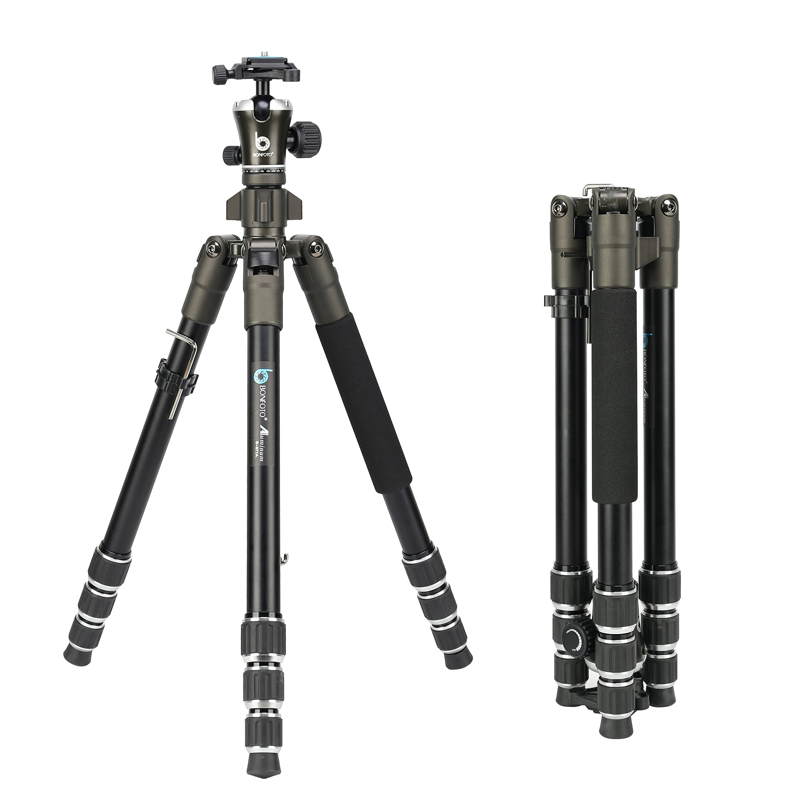 BONFOTO 671A Travel Aluminum Camera Tripod, Lightweight With Two 1/4'' Quick Release Plates Ball Head For Canon/Nikon/Sony/Samsung/Panasonic Olympus DSLR