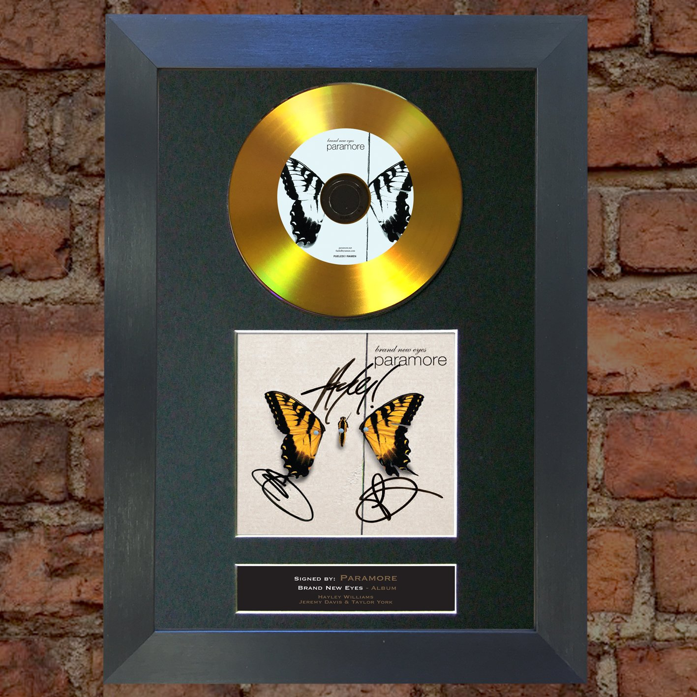 #119 GOLD DISC PARAMORE Brand New Eyes Album Signed Autograph Mounted Reproduction A4 Print (Black Frame) The Autograph Collector
