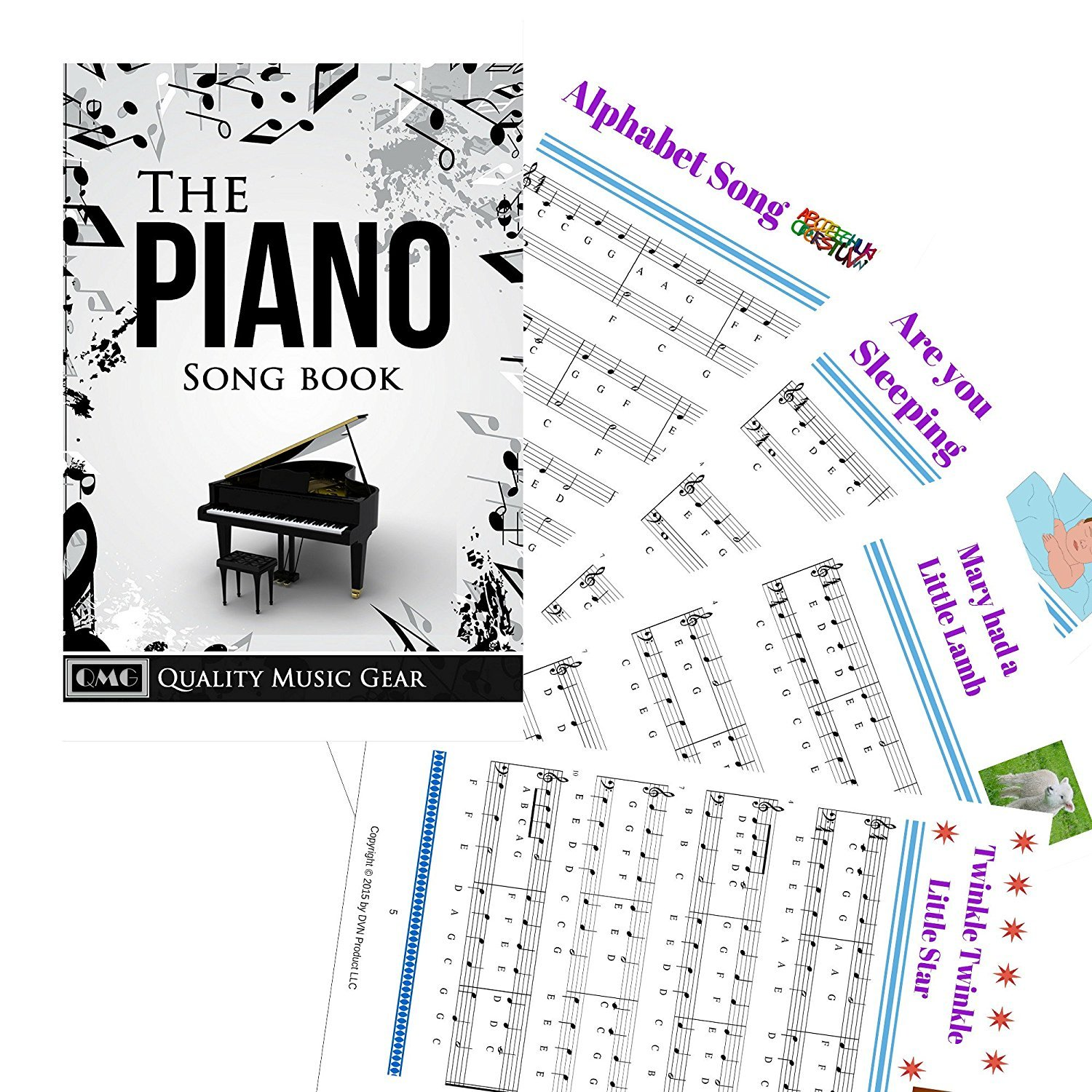 Piano and Keyboard Music Note Full Set Stickers for White and Black Keys with Piano Songs EBook; Transparent and Removable! Made in USA by QMG (Image #5)