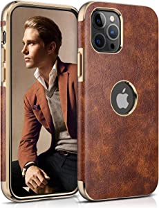 LOHASIC for iPhone 12 Pro Max Case, Vintage Leather Thin Slim Luxury PU Soft Flexible Bumper Non-Slip Grip Anti-Scratch Protective Cover Phone Cases Compatible with iPhone 12 Pro Max 6.7