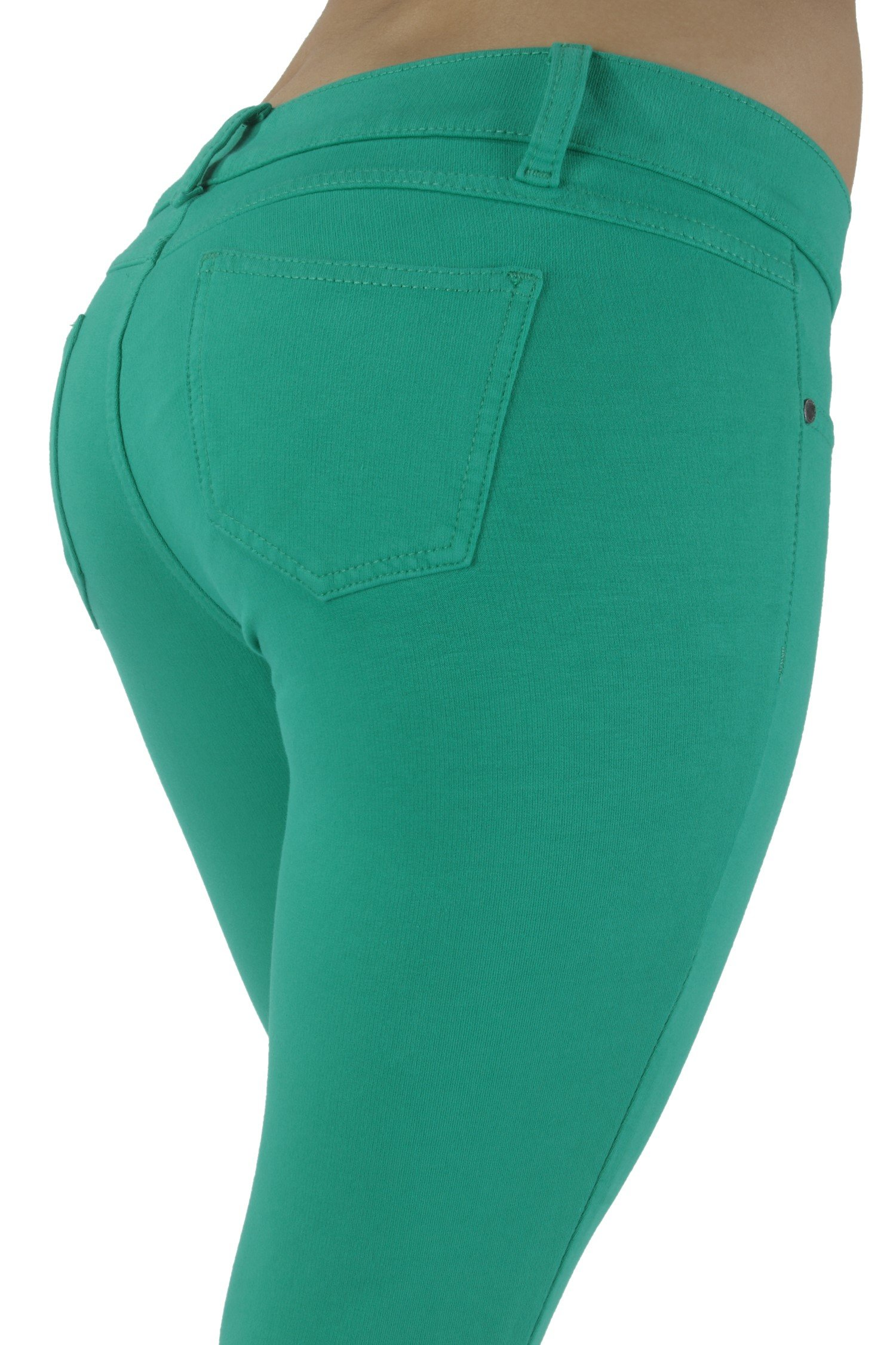 Basic pants skinny leg French Terry Jeggings style Moleton, With a gentle butt lifting stitching in Deep Mint Size XS