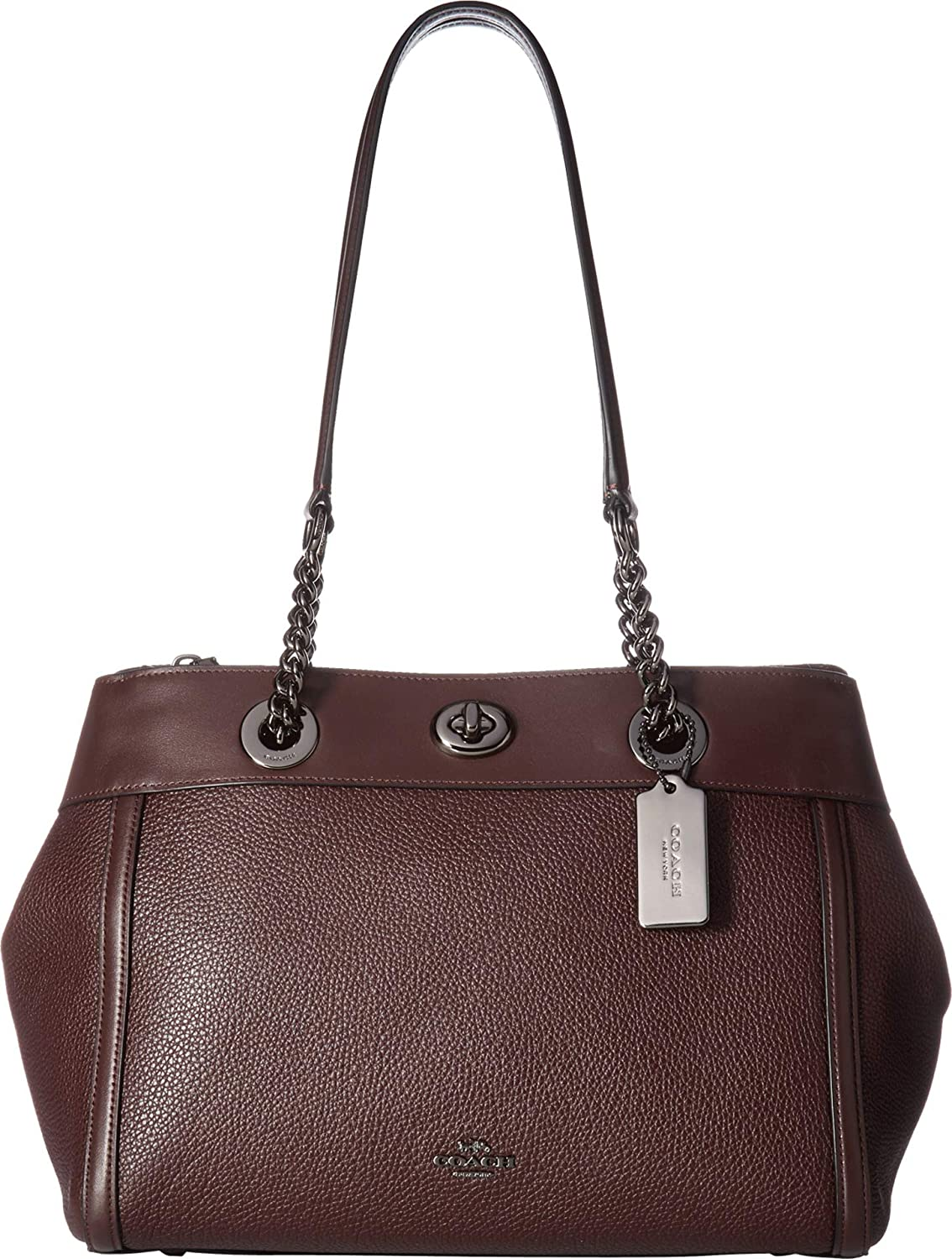 57641c63ab COACH Women s Turnlock Edie Carryall in Mixed Leather Dark Oxblood One  Size  Handbags  Amazon.com