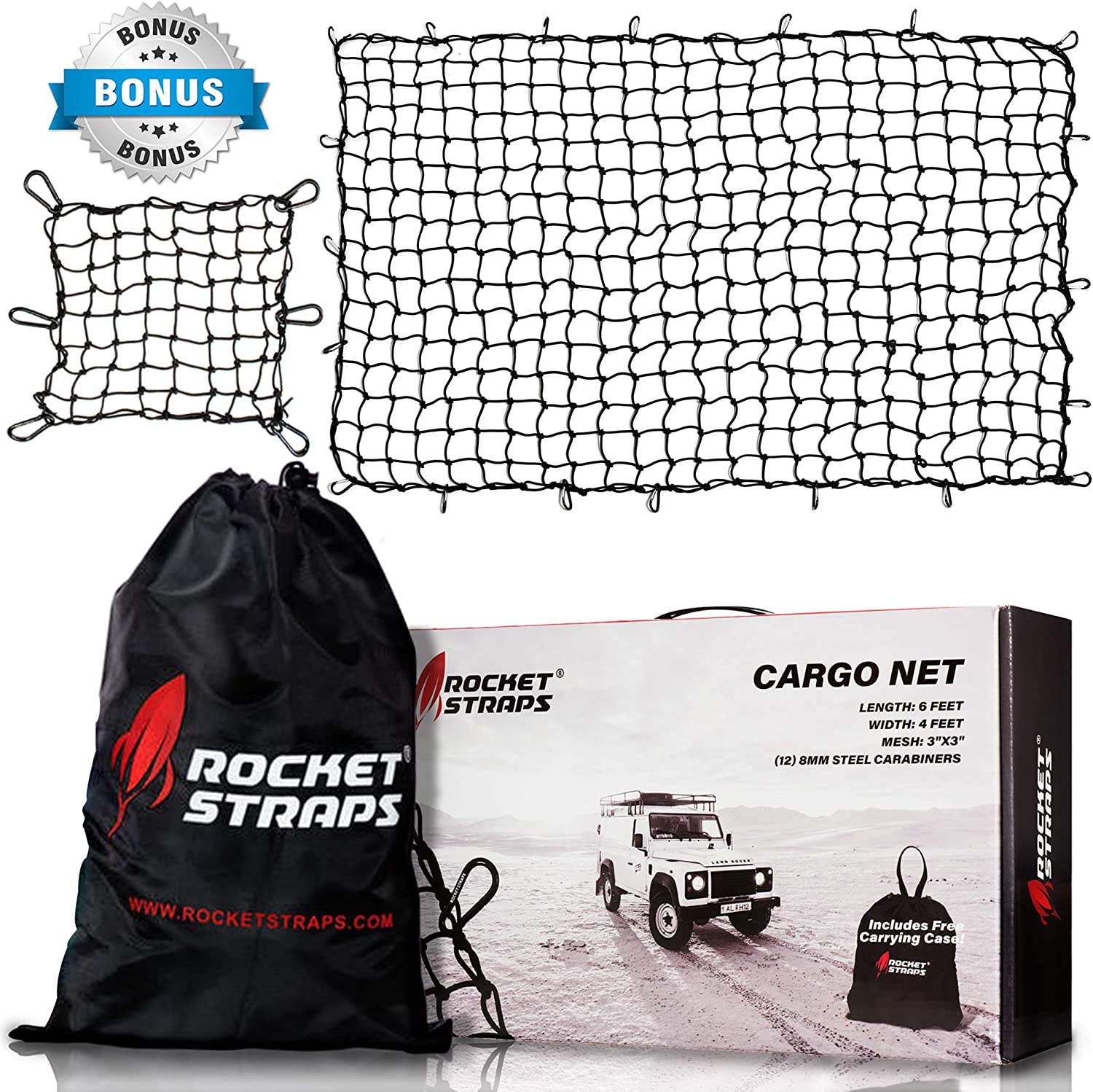 10 ABS Hooks /& 1 Storage Bag for Pickup Trucks SUV Trailer w// 16 Tangle-Free D Clip Carabiners Kohree Truck Bed Cargo Net 4x6 Stretches to 8x12