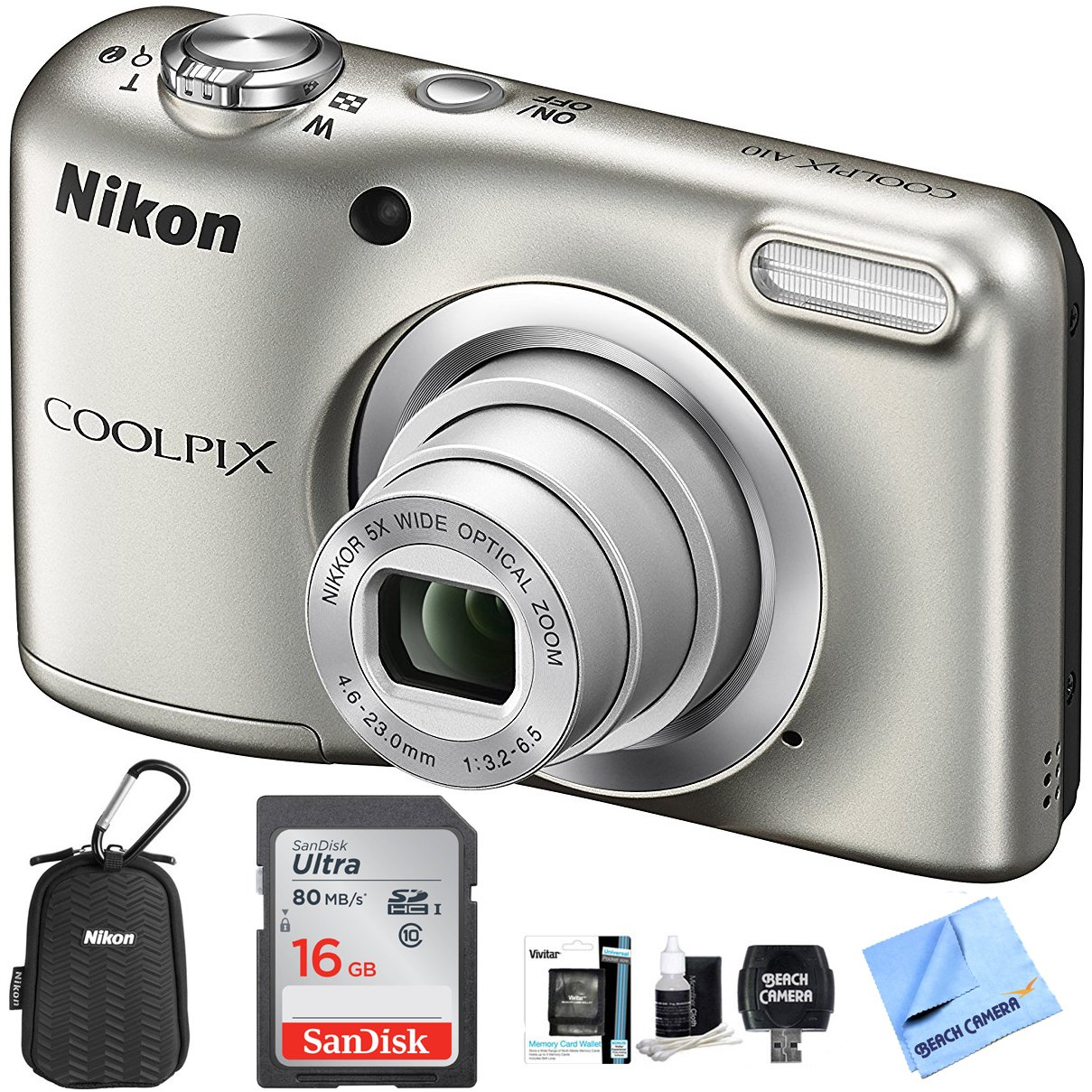 Nikon COOLPIX A10 Digital Camera 16.1MP 5x Zoom NIKKOR Glass Lens - Silver with 16GB Memory Card All Weather Sport Case Bundle (Certified Refurbished) by Nikon