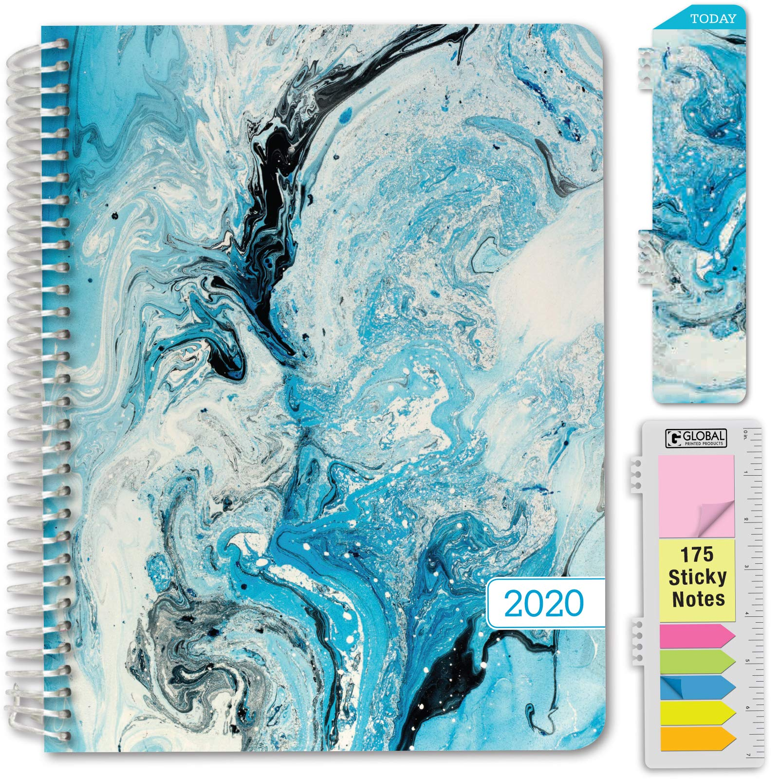 HARDCOVER Academic Year 2020-2021 Planner: Pocket Folder and Sticky Note Set Bonus Bookmark Spring Floral 8.5x11 Daily Weekly Monthly Planner Yearly Agenda June 2020 Through July 2021