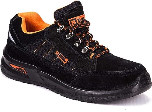 Black Hammer Chaussure de Sécurité S1P SRC Baskets Embout Acier Respirant Chaussures de Chaussures de Travail et randonnée 9952