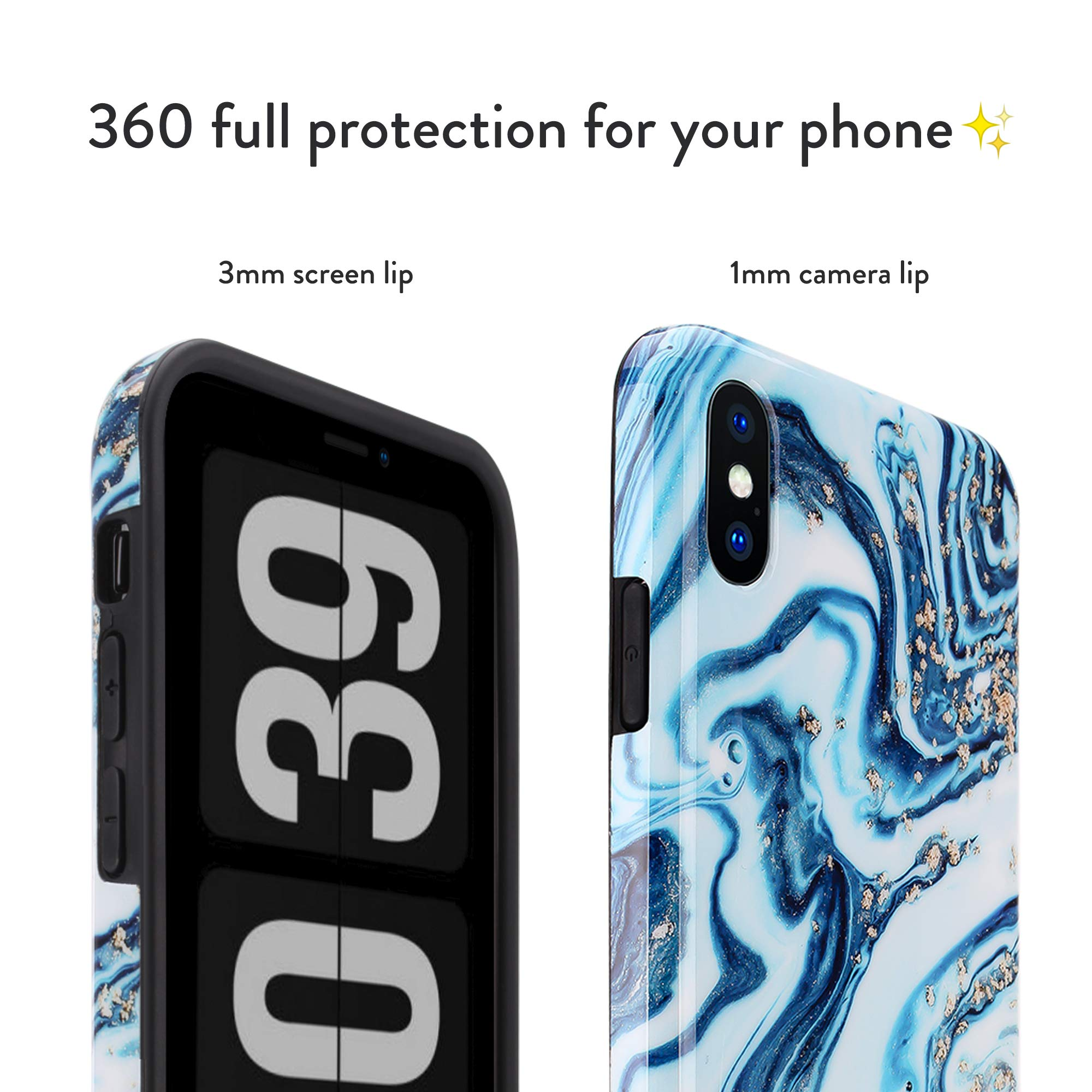 honua. iPhone Xs Max Marble Case, Cute and Protective Shockproof Design Full Body Case for iPhone Xs Max - Glossy Gold Ocean