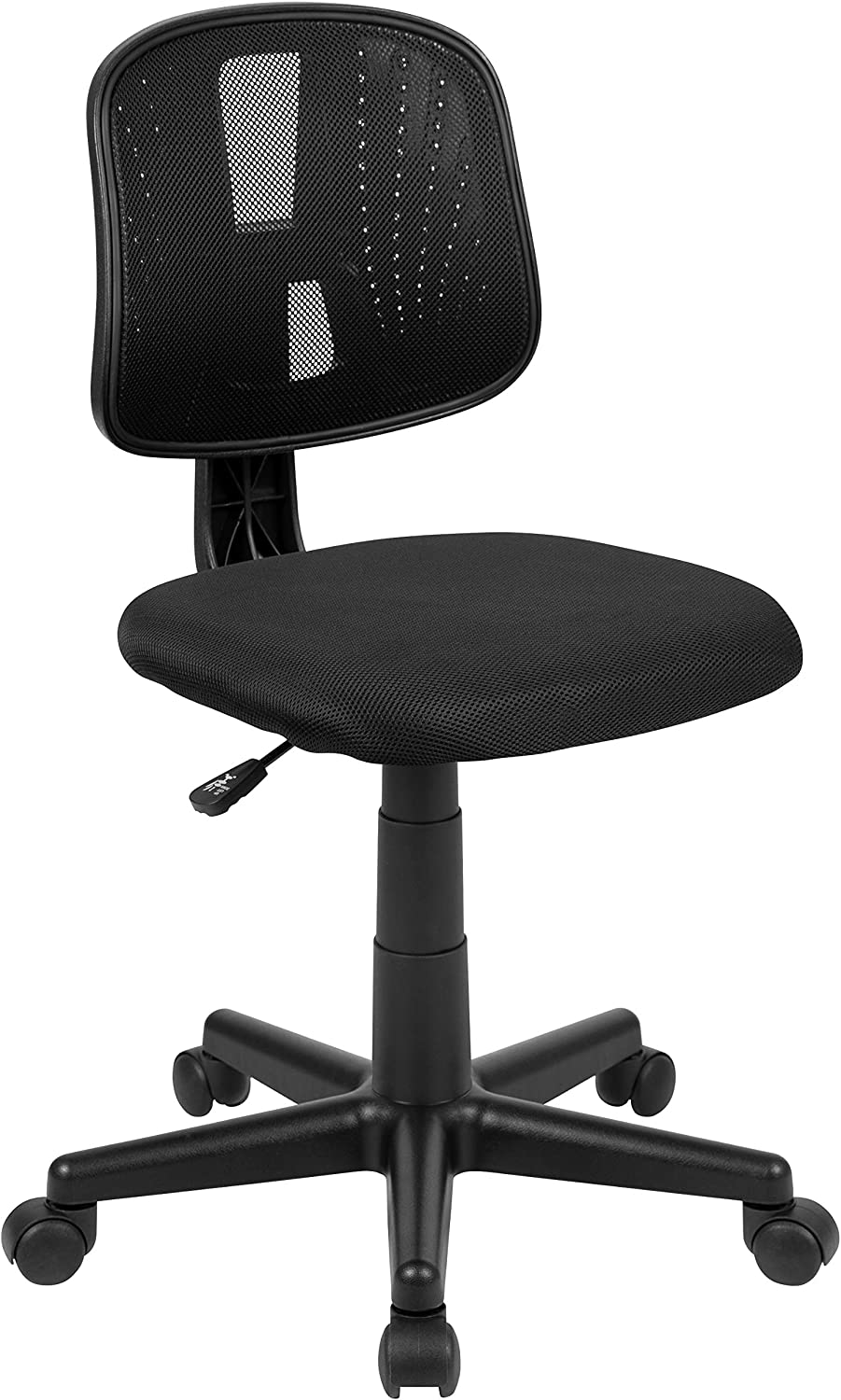 Flash Fundamentals Mid-Back Black Mesh Swivel Task Office Chair with Pivot Back