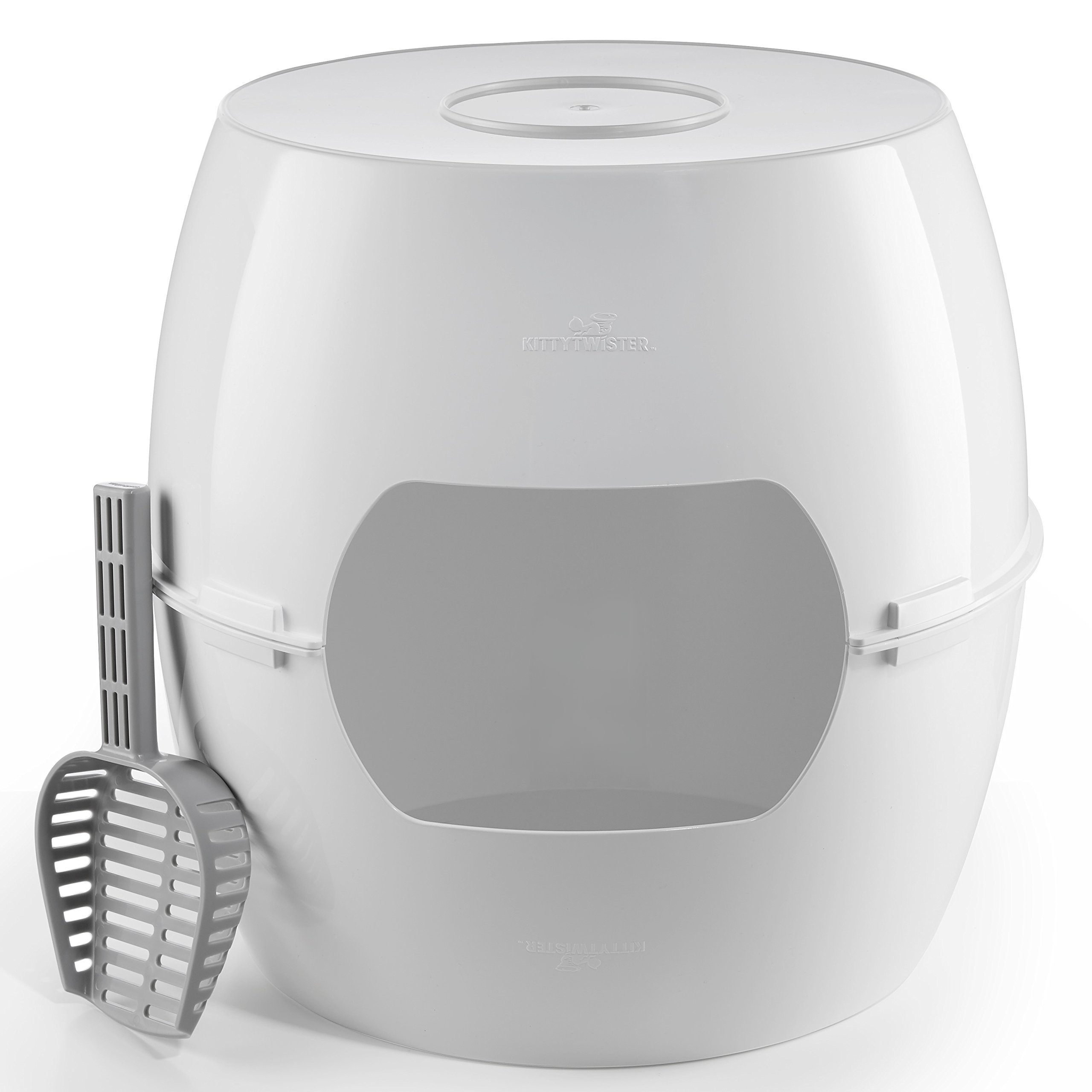 KittyTwister Duo: New - Premium Quality, Stylish, and Versatile 3 in 1 Large & Tall Litter Box Complete with Scoop Ease Scoop.