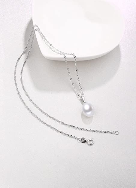 fine 925 silver charm with genuine gray pearl drop Sterling silver handmade pendant 020265