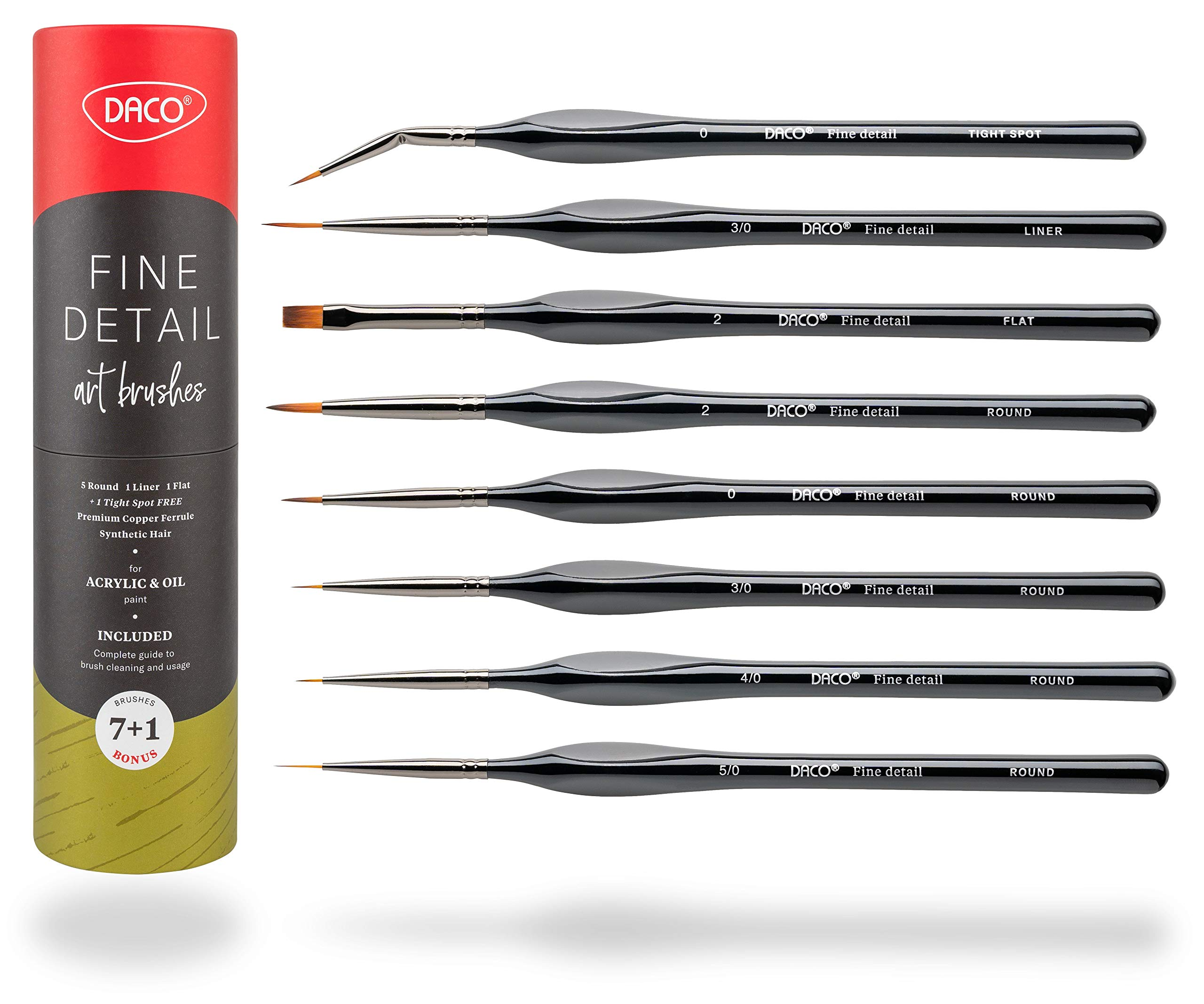 DACO Detail Paint Brush Set, 7pcs +1 Fine Miniature Paint Brushes Kit with Ergonomic Handle, Holder and Travel Bag (for Acrylic, Oil, Watercolor, Art, Scale Model, Face, Paint by Numbers) by DACO