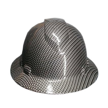 Izzo Graphics Silver Carbon Fiber Pyramex Ridgeline Full Brim Hard Hat