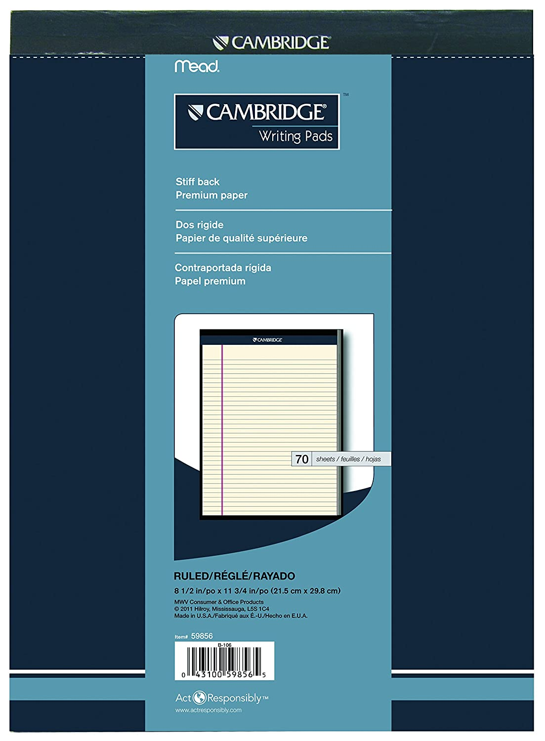 Cambridge 59856 Headstrip Office Pad, 8-1/2x11-3/4-Inch, 5/8-Inch Legal Ruled, 70-Sheets, Ivory
