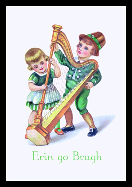 Amazon com: St  Patrick's Day Children Print (Black Framed Poster