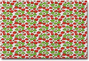 ScottDecor Floral Wall Sticker Strawberries with Flowers and Leaves Summer Season Themed Eating Food Teacher Appreciation Gifts Under 10.00 Vermilion Green Pink L36 x H24 Inch