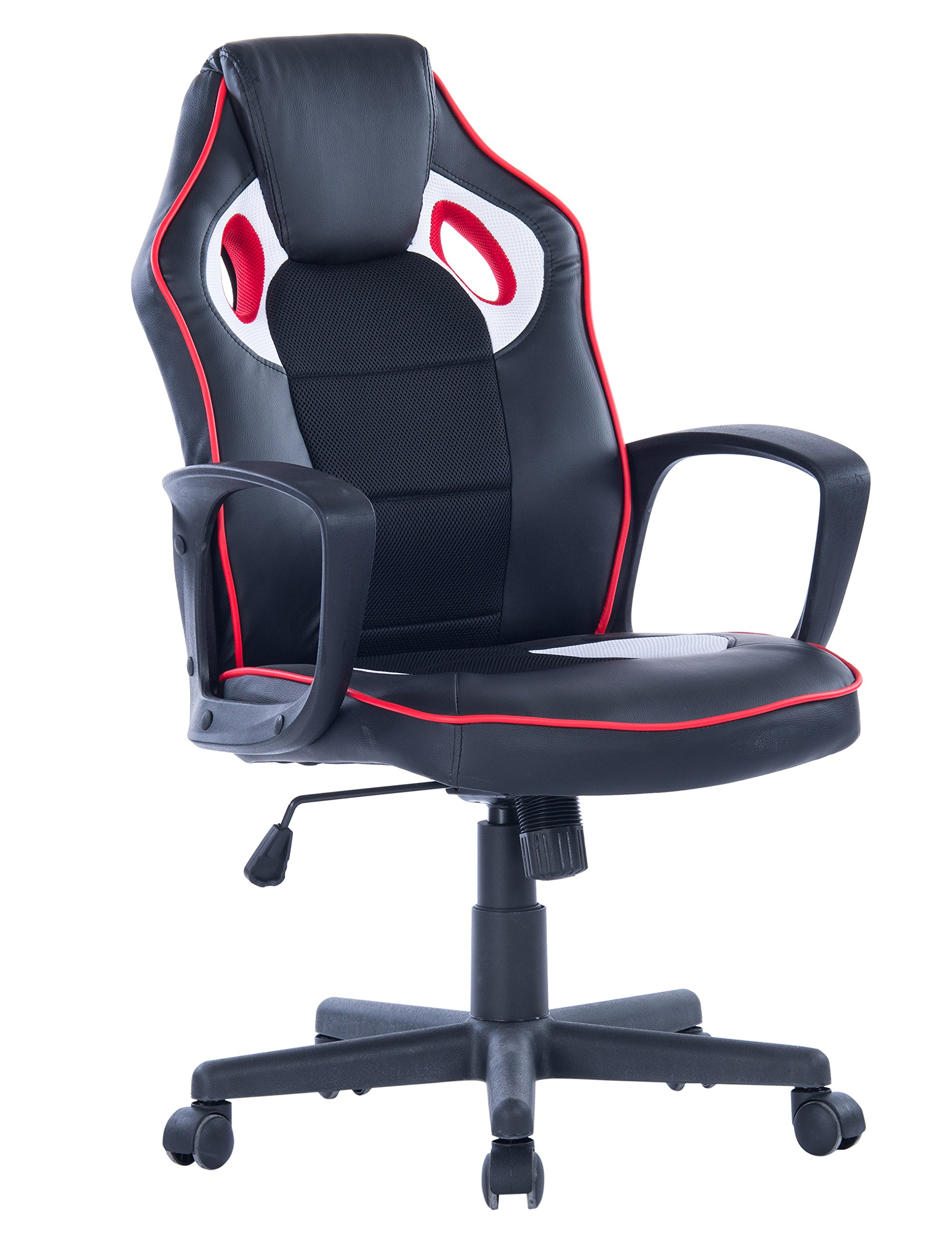 Killbee Ergonomic Swivel Executive Office Gaming Chair Height Adjustable, With High-Back Upholstered PU Leather Desk Chair (Black)