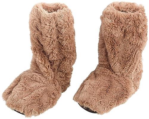 infactory Aufheizbare Hausschuhe: Aufwärmbare Flausch-Pantoffeln mit Leinsamen-Füllung, Größe 42-44 (Komfortable Wärme-Hausschuhe)