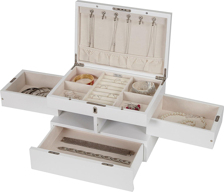 Amazoncom Seya Modern Fully Locking Wooden Jewelry Organizer Box
