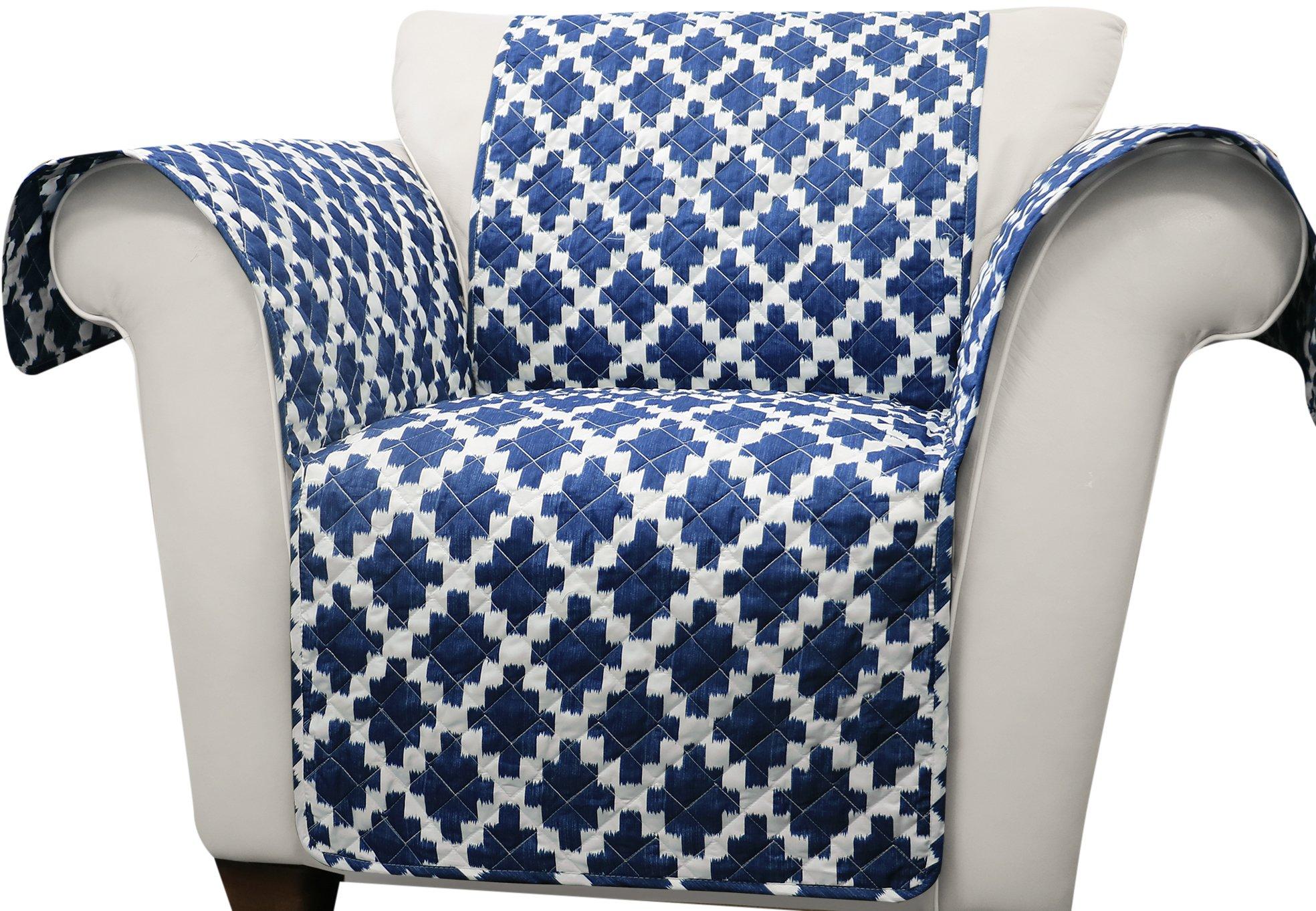 Lush Decor Ikat Arm Chair Furniture Protector, Navy