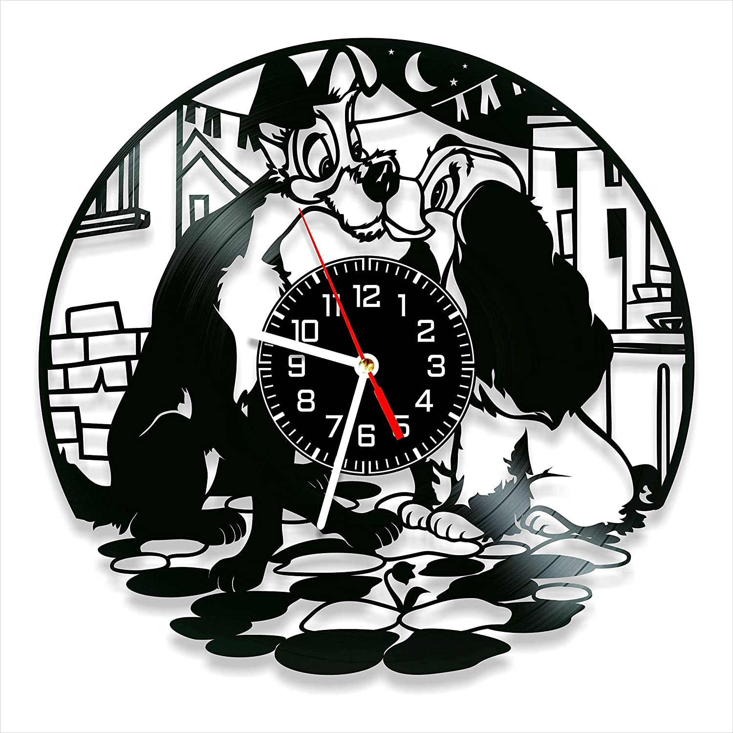 Lady and The Tramp Vinyl Clock, Lady and The Tramp Wall Clock 12 inch (30 cm), Original Gifts for Fans Lady and The Tramp, The Best Home Decorations, Unique Art Decor, Original Idea for Home Decor