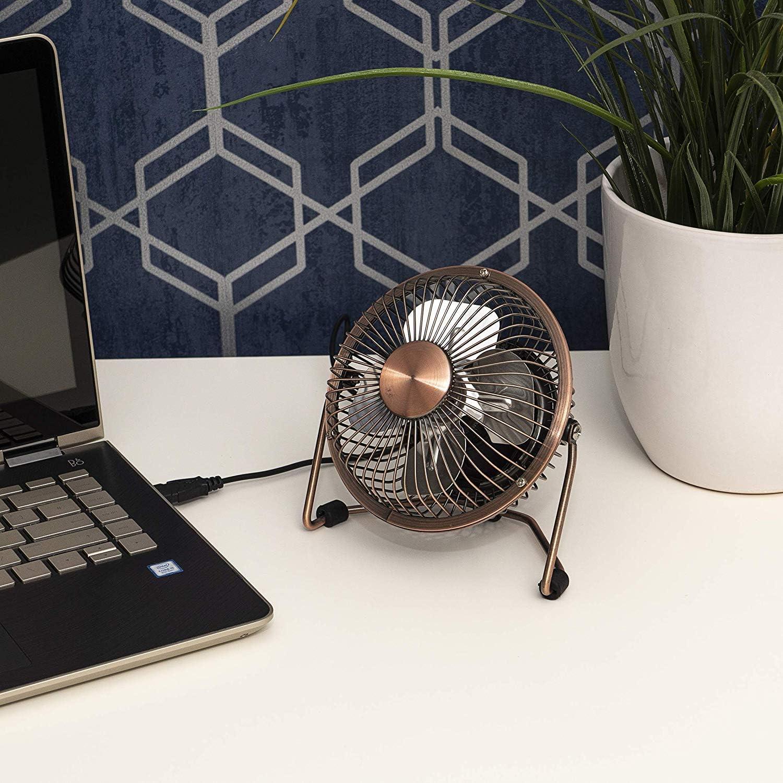 Mac ordinateur portable refroidissement pour bureau ventilateur de table M/étal Schallen 10,2 cm Mini Portable Aliment/é par USB ordinateur 4 Chromed Silver PC