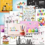 Kuuqa 20 Pieces Happy Birthday Cards With 20 Envelopes, Greeting Cards Designed By KUUQA