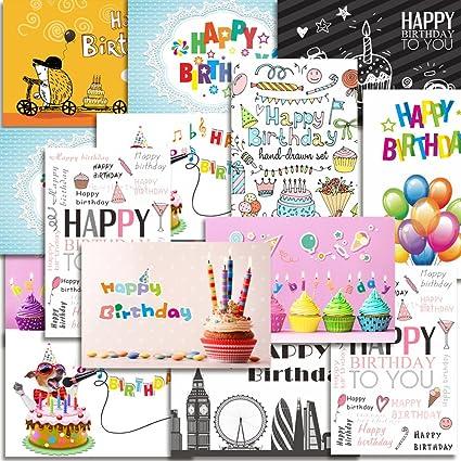 Kuuqa 20 Piezas Feliz Cumpleaños Tarjetas Con 20 Sobres, Tarjetas De Felicitación Diseñado Por KUUQA