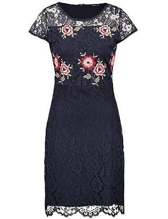 903287829ce289 Taifun Damen Kleid Langarm kurz Spitzenkleid mit Blumen-Stickerei Spitze