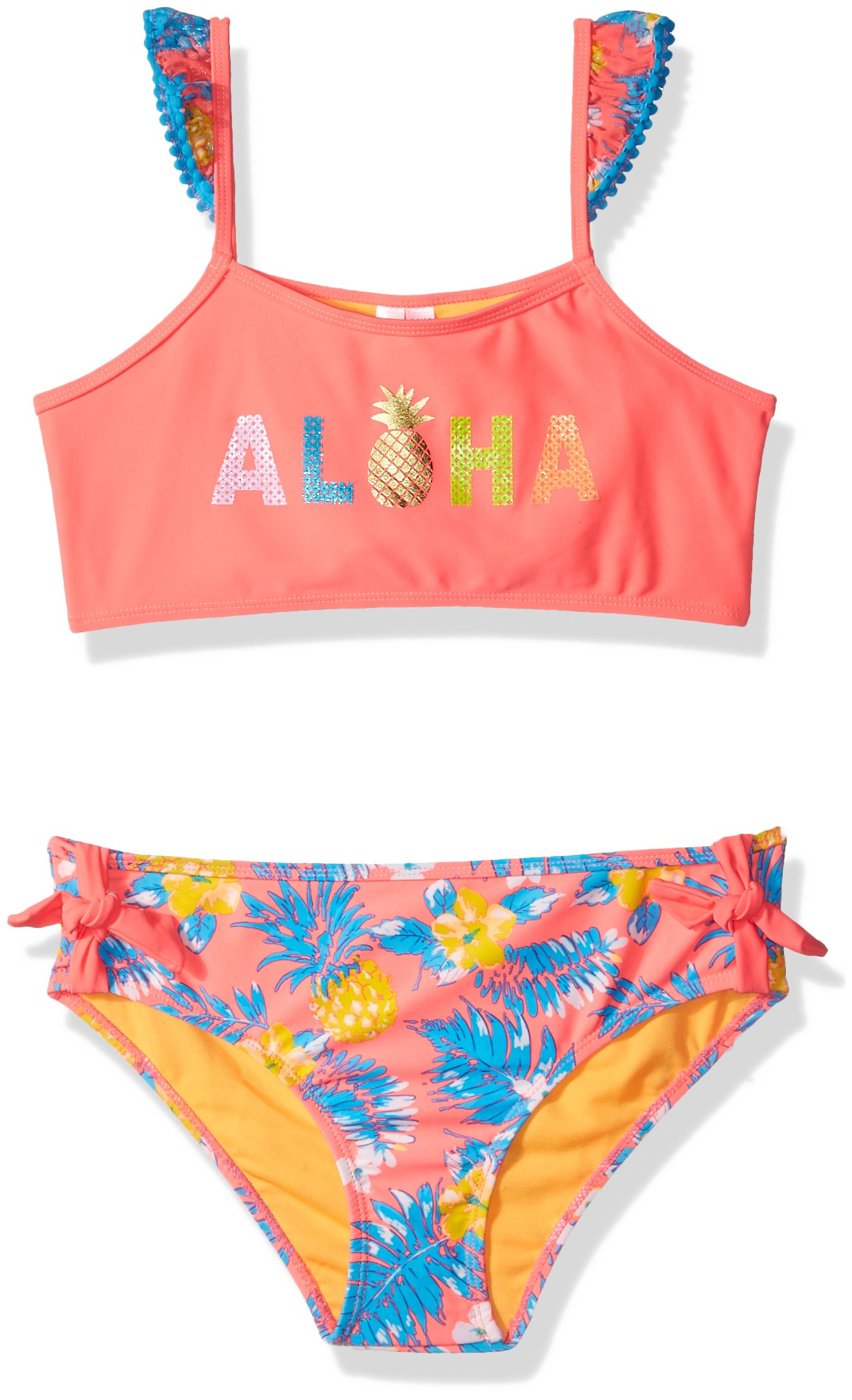 Limited Too Little Girls' Tropical Pineapple 2pc, Coral, 6X