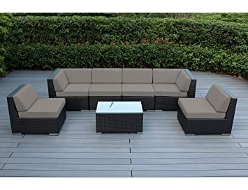Ohana 7 Piece Outdoor Wicker Patio Furniture Sectional Conversation Set  With Weather Resistant Cushions,