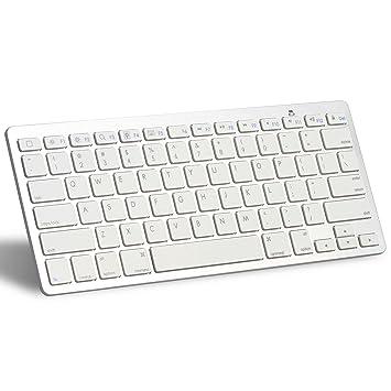 OMOTON Ultra-delgado Mini Bluetooth Teclado Inglés Para iPhone /Mac/iPad Air 1/2/iPad Pro/iPad Mini 1/2/3/4 y Todas Sistemas de iOS (Blanco): Amazon.es: ...