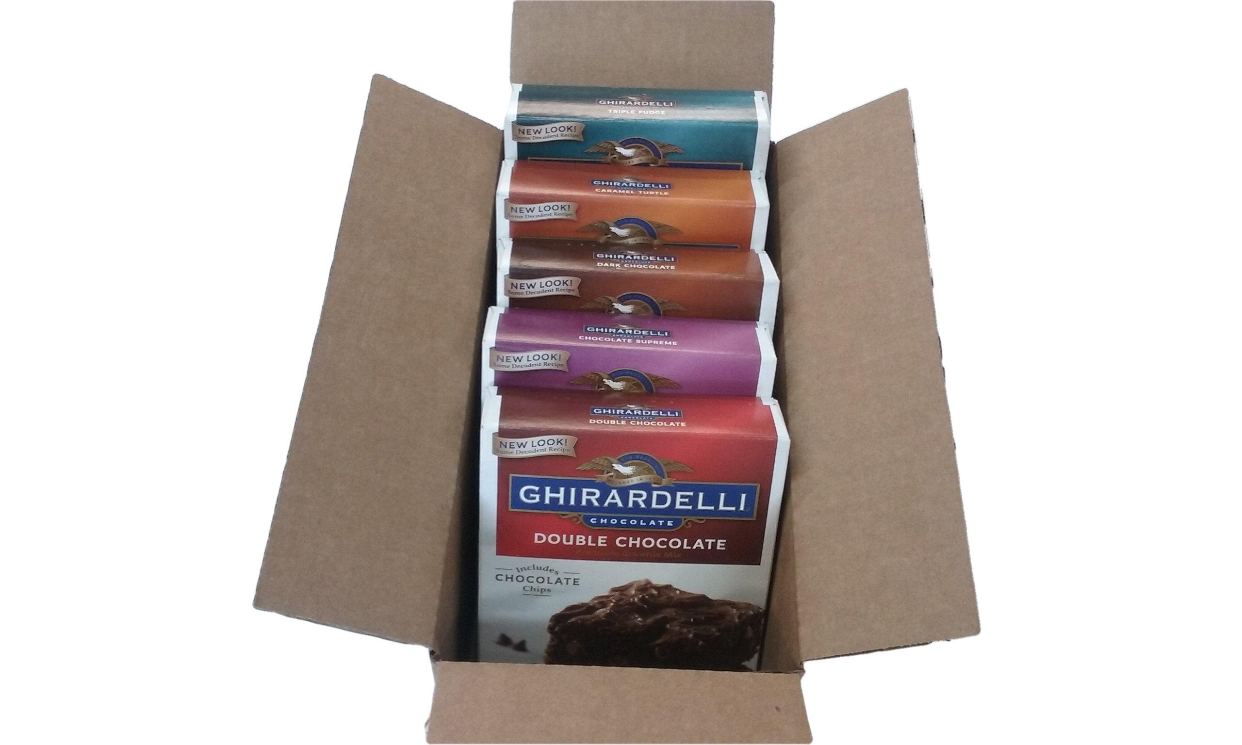 Ghirardelli Premium Chocolate Brownie Mix Variety - Bundle of 5 Flavors - Triple Fudge, Caramel Turtle, Double Chocolate, Chocolate Supreme, Dark Chocolate Gift Box by Narrow Path Sales (Image #3)