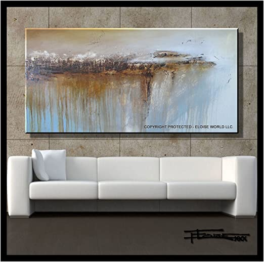 Large US ELOISExxx Signed ABSTRACT PAINTING Modern CANVAS WALL ART Framed