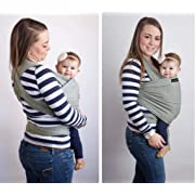 Baby Wrap Ergo Carrier Sling - by CuddleBug - Available in 9 Colors - Baby Sling, Baby Wrap Carrier, Nursing Cover - Specialized Baby Slings and Wraps for Infants and Newborn (Light Grey)
