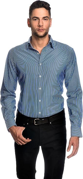 EMBRAER Camisa de Hombre, Ajustada Entallada (Slim-fit), 100% algodón, Manga-Larga, Cuello Kent, de Rayas - fácil de Planchar Azul 37-38: Amazon.es: Ropa y accesorios