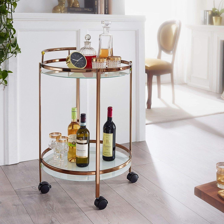 tavolino con rotelle con ripiano in vetro Wohnling Design carrello da cucina Carrello portavivande rotondo 2 livelli con freno /Ø 50 cm